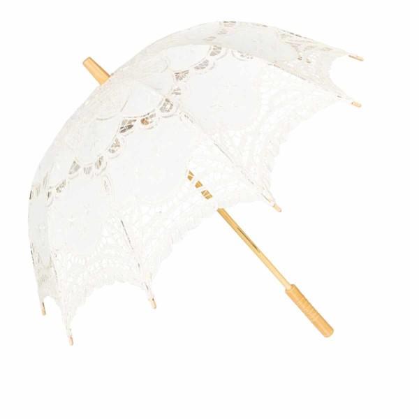 Schirm Häkelspitze Weiß