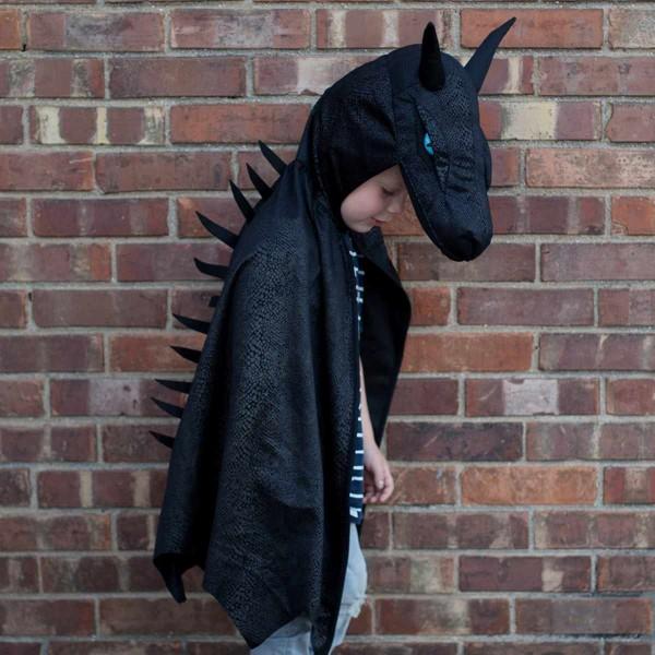 Drachen Cape schwarz mit Kopf - Midnight Dragon