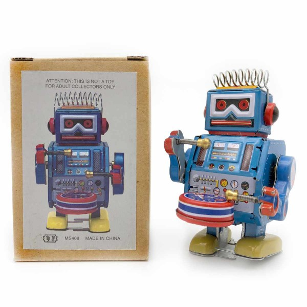 Roboter Blau Trommel
