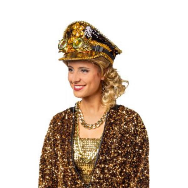 Schirmmütze Pailletten Gold