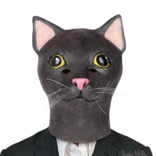 Latexmaske schwarze Katze