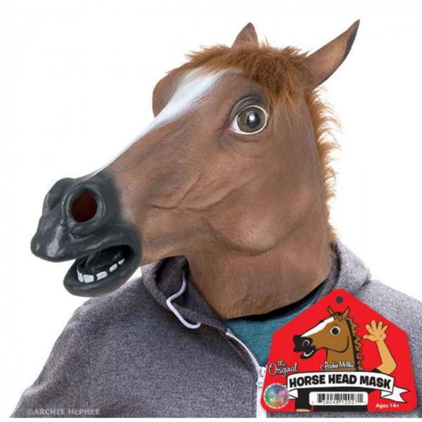 Braunes Pferd Latexmaske