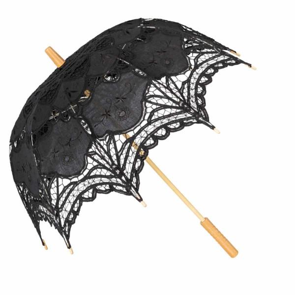 Schirm Häkelspitze Schwarz