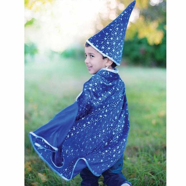 Zauber Umhang & Hut samt blau mit silbernen Sternen